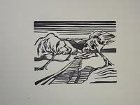 GRAVURE SUR BOIS ORIGINALE Georges JEANTILS ART ABSTRAIT VUE OISE POMMIER 1951