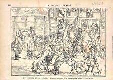 Ouverture de la Chasse Chiens Voyage Chemin de Fer Train par Crafty GRAVURE 1873