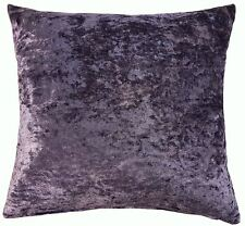 "2 X LUXURY SOFT CRUSHED VELVET PURPLE AMETHYST CUSHION COVERS 18"" - 45CM"