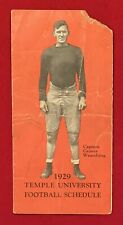 Antique 1929 Temple University Football Pocket Schedule Early 1920s Philadelphia