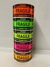 1250 2x3 FRAGILE NEON Self Adhesive Handle with Care Stickers Shipping Label