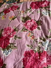Powell Craft - Pink Flower Quilted Throw/Bed Spread