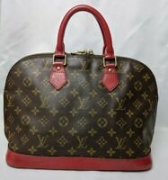 Auth Louis Vuitton Hand Bag Alma M51130 Browns Monogram Custom Red F/S