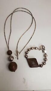 Sterling Silver Bracelet And Necklace set by ginny D ~ snake skin pattern