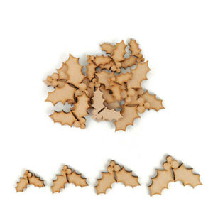 Holly leaves MDF Craft Shapes Wooden Decoration Christmas Embellishments berries