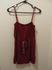 Juicy Couture womens red heart print spaghetti strap apron style top P