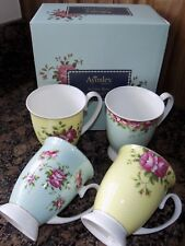 AYNSLEY ARCH ROSE  4 X FOOTED MUGS  NO CLAS40010  NEW VINTAGE CHINA STYLE