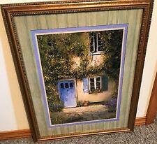 "Homco Home Interiors Picture 26.5"" x 22.5"" Artist Warwick Cottage Blue Door VGC"