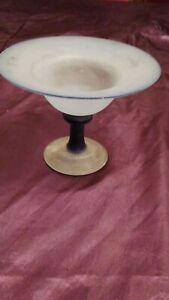 """SHEREKAT ART GLASS HAND MADE LARGE BLUE FROSTED BOWL/TAZZA - 4.5"""" x 5.5"""""""