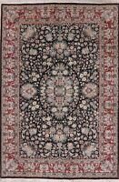 Aubusson Oriental Wool Area Rug Hand-Knotted Floral Pakistani Carpet 9 x 6 BLACK