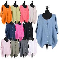 Ladies Italian Quirky Tunic Top Women Kimono Step Hem Front Open Lagenlook Shirt