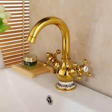 Vintage Basin Golden Faucet Water Sink Faucet Mixer Tap 2 Handle Bathroom