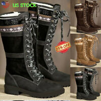 Women's Ladies Low Heel Snow Boots Fur Lined Winter Warm Lace Up Mid Calf Shoes