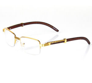 Womens Men Retro Vintage Clear Lens Gold Half Frame Fashion Designer Eye Glasses