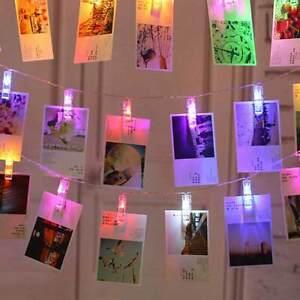 Catena Luminosa 16 Mollette LED Ghirlanda stringa Clip Appendere Foto Multicolor