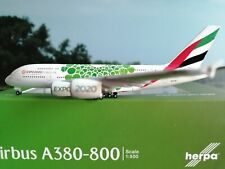 """Herpa Wings 1:500 Emirates  A380 Expo 2020 Dubai, """"Sustainability"""" livery 533522"""