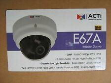 ACTi E67A Surveillance IP Camera 2MP Indoor Dome Vari-focal H.264 IK09 1080p PoE