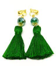 Handmade Boho Green Crystal Tassel Clip On Earrings,Green Clip On Earrings