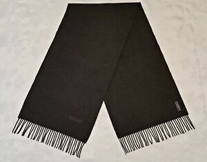 ITALY VINTAGE AUTHENTIC MOSCHINO DARK GRAY LAMBSWOOL LONG MEN'S FRINGE SCARF