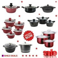 Deep Non Stick Stock Pot Casserole Saucepans Set Induction Cooking Pot With Lid