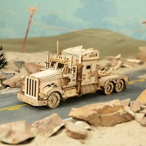 Robotime Classic Movable 3D America Heavy Truck Wooden Puzzle Game Assembly Toy