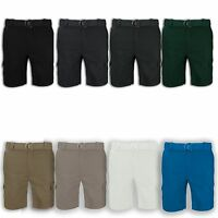 NEW Men Cargo Shorts Twill Regular Fit FREE BELT All Sizes Colors Short
