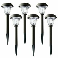 Mainstays Solar Path Lights, Stainless Steel & Glass, Coffee (6 Pack)