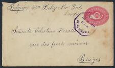 GUATEMALA 1896 BELGIUM TEN CENTS POSTAL COVER TO BRUGES BELGIUM STEAMSHIP COVER