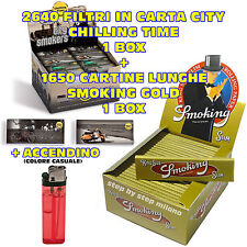 Cartine SMOKING Lunghe Gold oro + Filtri di carta MAD 4 Chilling Time CITY