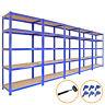 5 x 90cm Large Shelving Racking Units for Garage, Shed or Workshop Blue