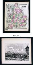 1857 Morse x 2  England Map & Print of Birmingham View - London Liverpool Oxford