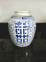 Chinese Double Happiness Ginger Jar Blue and White Porcelain Signed Vintage 9.5""