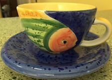Set Of 4 Bella Ceramica Gone Fishing Soup Coffee Mugs And Plates Excellent