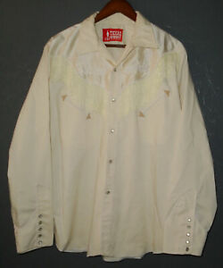 TEXAS COWBOY Pearl Snap Western Shirt IVORY Embroidered Fringe Vtg Mexico Lg/XL