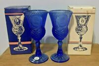 Vintage Avon Fostoria 1976 George & Martha Washington Cobalt Blue Glass Goblets