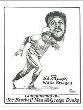 Willie Stargell, Signed George Desko Print, JSA COA, Stats on Back, Clean