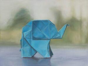 "Original Oil ""Origami Elephant"" Oil, 18x24"" - FRAMED Origami paper elephant art"