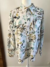 MARCS AND SPENCER sz 14 16 White/Green Long Sleeve Button Down Shirt Floral EUC