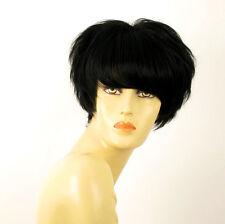 perruque femme 100% cheveux naturel courte noir ref BEATRICE 1b