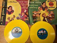 Original Walt Disney Snow White & Seven Dwarfs Little Golden Records Lot of 2