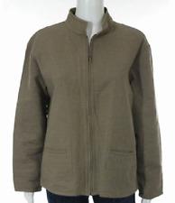 ..EILEEN FISHER Beige Crinkle Gauze Stand Collar Zip Up Jacket Sz M Cotton Blend
