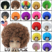 1-10 Pcs Halloween Clown Party Rainbow Afro Hair Football Fan Costume Curly Wigs