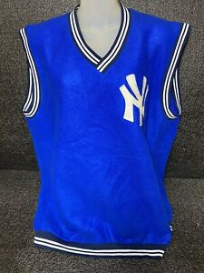 Vtg New York Yankees Majestic V-Neck Sweater Embroidered Logo Sz 2X