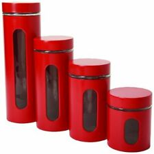 Red Kitchen Canister Set 4 Piece Cylinder Containers Storage Organizer Glass New