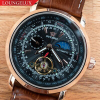 Mens Skeleton Automatic Mechanical Moon Phase Exhibition Watch Rose Gold Black