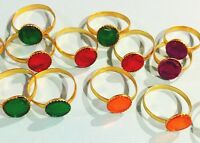 gem rings Lot of 50 Colorful Jewelry Kid's Children's Birthday Toy Trinket Stone