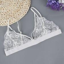 Fashion Floral Lace Sheer Mesh Triangle Unpadded Bra Bralette Bustier Crop Top
