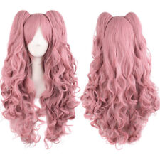 New Dark pink Lolita Girl women long wavy curly Cosplay hair wig 2 ponytail