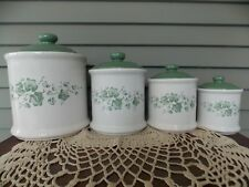 Set of 4 Vintage Jay Import Kitchen Canisters Containers Green Lids Callaway Ivy