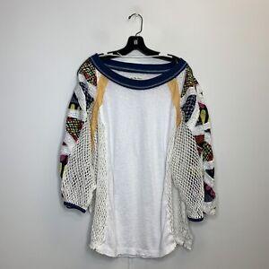 Free People Women's White Multicolored Long Sleeve Blouse Size Medium